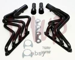 Black Performance Exhaust Header Manifold System Kit 80-96 Ford F150/F250 5.0L